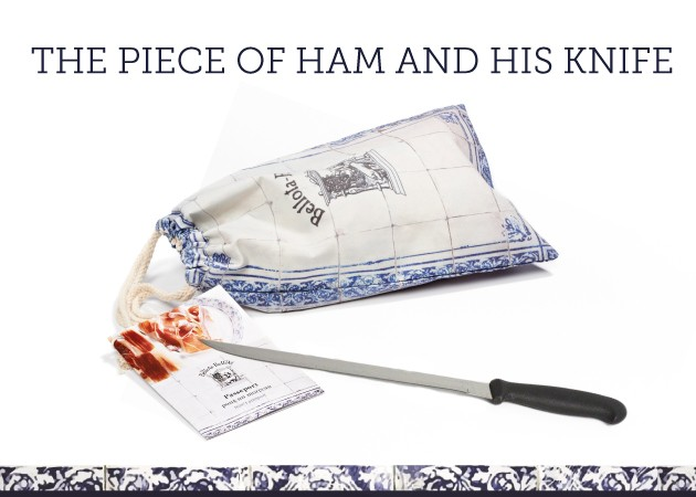 The ham in piece and its knife